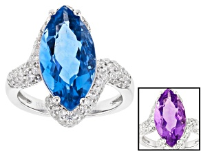 Pre-Owned Blue Color Change Fluorite Rhodium Over Sterling Silver Ring 6.41ctw