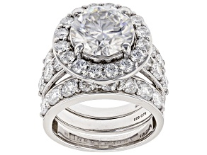 Pre-Owned Moissanite Platineve Ring With Two Bands 8.02ctw DEW.