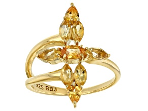Pre-Owned Orange Spessartite 18k Gold Over Sterling Silver Ring 1.35ctw