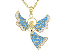 Pre-Owned Blue Enamel & White Zircon 18k Gold Over Sterling Silver Pendant with Chain .41ctw