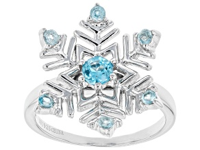 Pre-Owned Sky blue topaz sterling silver snowflake ring .62ctw