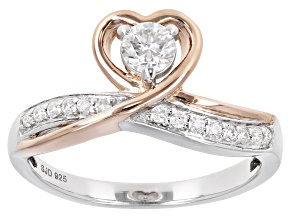 Pre-Owned Moissanite Platineve™ And 14k Rose Gold Over Platineve Two Tone Ring .37ctw DEW