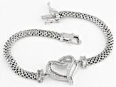 Pre-Owned White Cubic Zirconia Rhodium Over Sterling Silver Heart Bracelet 1.79ctw