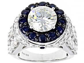 Pre-Owned Moissanite And Blue Sapphire Platineve Ring 6.48ctw  DEW.