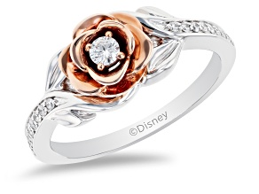 Pre-Owned Enchanted Disney Belle Rose Ring White Diamond 14K White And Rose Gold 0.20ctw