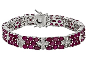 Pre-Owned Red ruby rhodium over sterling silver bracelet 28.50ctw