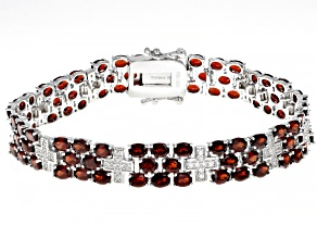 Pre-Owned Red garnet rhodium over sterling silver bracelet 18.12ctw