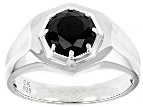 Pre-Owned Black Spinel Rhodium Over Silver Mens Ring 1.72ct