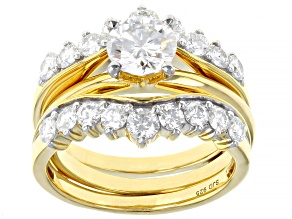 Pre-Owned Moissanite 14k Yellow Gold Over Silver Ring With Guard 2.16ctw DEW.