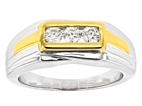 Pre-Owned Moissanite Two Tone Gents Ring .48ctw DEW
