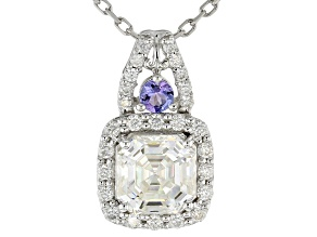 Pre-Owned Moissanite And Tanzanite Pendant 5.32ctw DEW