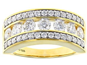 Pre-Owned Moissanite 14k Yellow Gold Over Silver Ring 1.72ctw DEW.