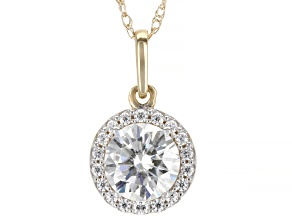 Pre-Owned Moissanite Pendant 14k Yellow Gold .98ctw DEW.