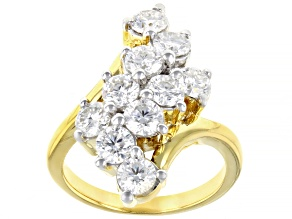 Pre-Owned Moissanite 14k Yellow Gold Over Silver Ring 2.30ctw DEW.