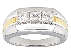 Pre-Owned Moissanite Gent Ring Two Tone 14k Yellow Gold Over Platineve™ 1.50ctw DEW