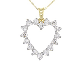 Pre-Owned Moissanite 14k yellow gold heart pendant .96ctw DEW.