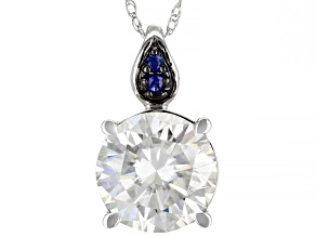 Pre-Owned Moissanite and blue sapphire 14K white gold Pendant 2.26ct DEW