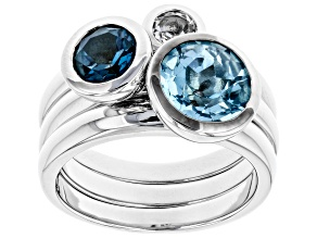 Pre-Owned London Blue, Glacier™, And White Topaz Rhodium Over Brass Ring Set Of Three 3.02CTW