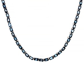 Pre-Owned Blue Topaz Rhodium Over Silver Tennis Necklace 19.04ctw