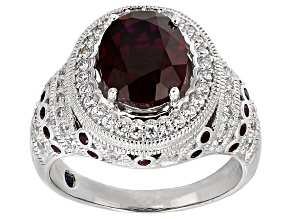 Pre-Owned Lab Created Ruby And White Cubic Zirconia Platineve Ring 3.79ctw