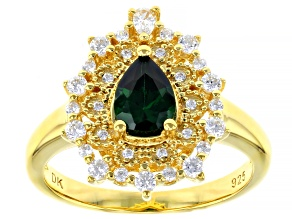 Pre-Owned Green And White Cubic Zirconia 18K Yellow Gold Over Sterling Silver Ring 1.83ctw