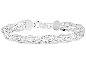 Pre-Owned Sterling Silver Diamond Cut Braided Herringbone Bracelet 7.5 inch
