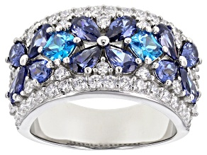 Pre-Owned Blue And White Cubic Zirconia Rhodium Over Sterling Silver Floral Ring 8.01ctw
