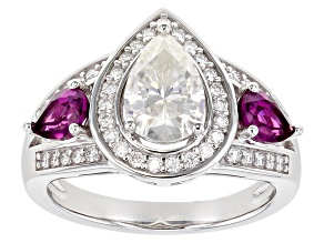 Pre-Owned Moissanite and grape color garnet platineve ring 1.93ctw DEW.