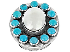 Pre-Owned Sleeping Beauty Turquoise And Shell Sterling Silver Ring