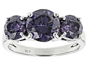 Pre-Owned Purple Fabulite Strontium Titanate 10k White Gold 3-Stone Ring 4.70ctw