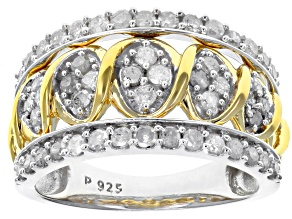 Pre-Owned White Diamond Rhodium And 14K Yellow Gold Over Sterling Silver With Ring 1.00ctw