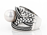 Pre-Owned White Cultured Freshwater Pearl 9-10mm Rhodium Over Sterling Silver Crossover Ring