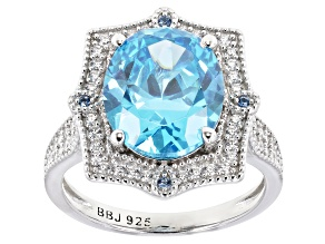 Pre-Owned Blue And White Cubic Zirconia Rhodium Over Sterling Silver Ring 7.77ctw