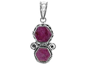 Pre-Owned Rough Pink Sapphire Sterling Silver Pendant
