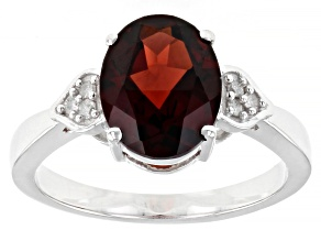 Pre-Owned Red Garnet Rhodium Over Silver Ring 2.43ctw