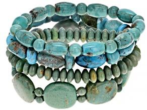 Pre-Owned Green Turquoise Set Of 4 Stretch Bracelets