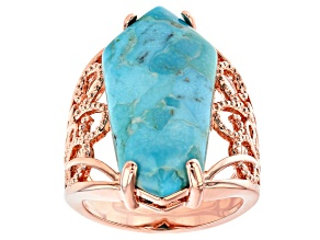 Pre-Owned Turquoise Solitaire Copper Ring