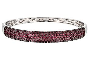 Pre-Owned Raspberry Color Rhodolite Rhodium Over Silver Bracelet 5.26ctw