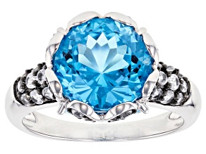 Pre-Owned Swiss blue topaz rhodium over silver ring 6.27ctw