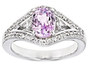 Pre-Owned Pink Kunzite Rhodium Over Silver Ring 2.02ctw