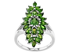 Pre-Owned Green Chrome Diopside Rhodium Over Silver Ring 2.43ctw