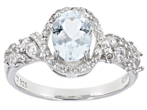 Pre-Owned Aquamarine Rhodium Over Sterling Silver Ring 1.68ctw