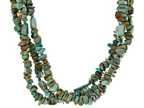 Pre-Owned Blue Turquoise Rhodium Over Sterling Silver 3-strand Necklace