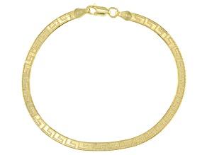Pre-Owned 18k Yellow Gold Over Sterling Silver 3.60mm Greek Key Herringbone Bracelet.