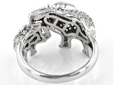 Pre-Owned Black and White Cubic Zirconia Rhodium Over Sterling Silver Elephant Ring 1.54ctw