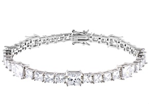 Pre-Owned White Cubic Zirconia Rhodium Over Sterling Silver Tennis Bracelet 28.56ctw