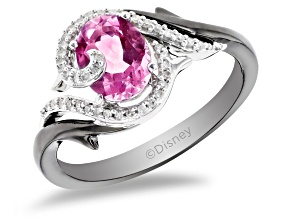 Pre-Owned Enchanted Disney Villains Maleficent Ring Pink Topaz & Diamond Black Rhodium Over Silver 1