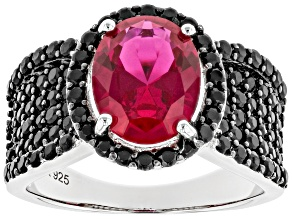 Pre-Owned Red Lab Created Ruby Rhodium Over Silver Ring 4.95ctw