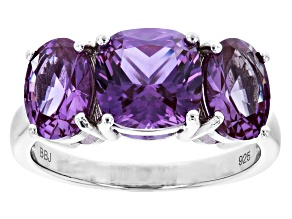 Pre-Owned Purple Color Change Lab Created Sapphire Rhodium Over Silver Ring 4.60ctw