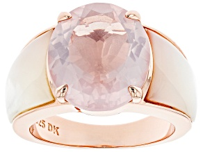 Pre-Owned Pink rose quartz 18k rose gold over silver ring